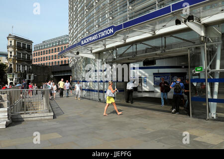 People walking outside exterior Blackfriars Station in summer  in London UK    KATHY DEWITT - Stock Photo