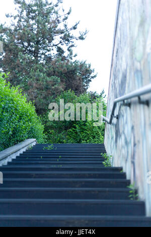 Concrete Steps And Metal Handrail On Path At Dryslwyn