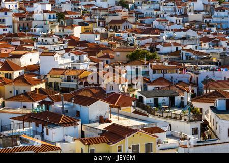 View of the old town on Skiathos island, Greece. - Stock Photo