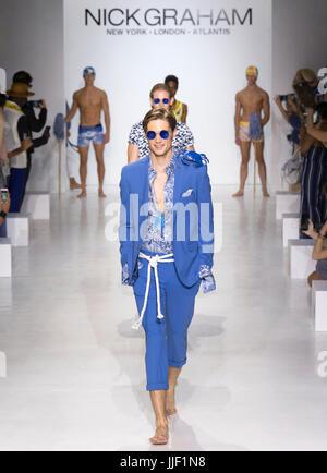 NEW YORK, NY - July 11, 2017: Models walk the runway at the Nick Graham Show during New York Fashion Week Men's - Stock Photo