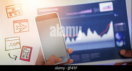 Cropped image of hand holding mobile phone and graph against light design on blue background - Stock Photo
