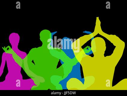 Digital composite of Intense color silhouettes doing yoga  with opacity. Black background - Stock Photo