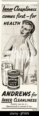 1940s original old vintage advertisement advertising Andrews Liver Salt laxative in magazine circa 1946 when supplies - Stock Photo