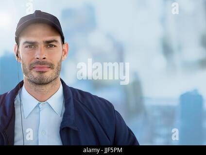 Digital composite of Security man outside bright blue background city - Stock Photo