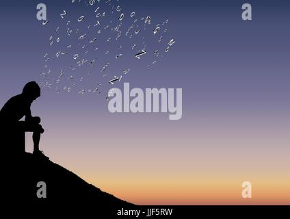 Digital composite of men silhouette sit in the mountain with text coming up from his head - Stock Photo