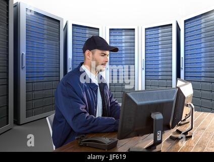 Digital composite of security guard working in his office with servitors behind him - Stock Photo