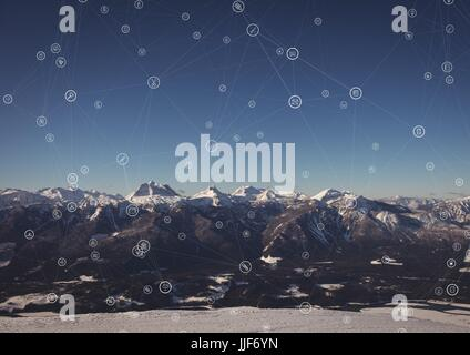Digital composite of White network against mountains - Stock Photo