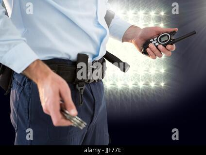 Digital composite of Security man with stadium lights - Stock Photo