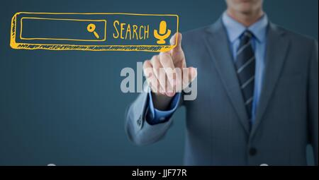 Digital composite of Business man mid section touching yellow search bar against dark blue background - Stock Photo