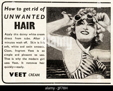 1940s original old vintage advertisement advertising Veet hair removal cream in magazine circa 1946 when supplies - Stock Photo