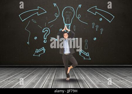 Digital composite of Businessman in yoga position in front of black board with a representation of idea - Stock Photo
