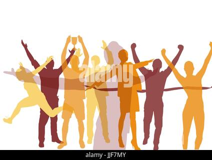 Digital composite of hot colors silhouettes. hands up. - Stock Photo