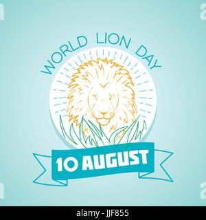 Calendar for each day on august 10. Greeting card. Holiday -   World Lion Day. Icon in the linear style - Stock Photo