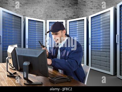 Digital composite of security guard in servitor room  with computers - Stock Photo