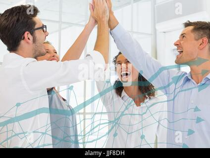 Digital composite of Team highfiving and light blue graph - Stock Photo