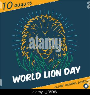 Holiday -   World Lion Day. Icon in the linear style - Stock Photo
