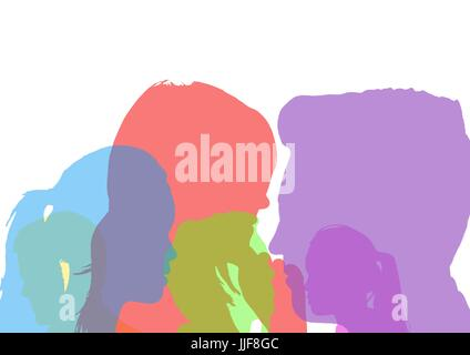 Digital composite of head silhouettes in different colors. White background - Stock Photo