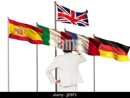 Digital composite of main language flags behind businesswoman backwards - Stock Photo