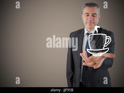 Digital composite of Business man hand out with white coffee against brown background - Stock Photo
