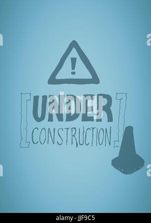 Digital composite of Blue background with construction doodle - Stock Photo