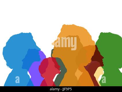 Digital composite of Woman head color silhouettes - Stock Photo