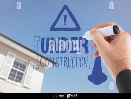 Digital composite of Hand drawing construction doodle against house and sky - Stock Photo