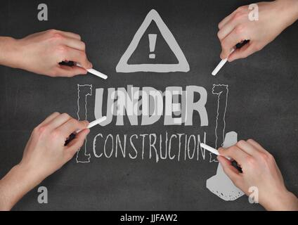 Digital composite of Hands drawing construction doodle against grey background - Stock Photo