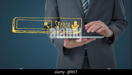 Digital composite of Business man mid section with tablet and yellow search bar against dark blue background - Stock Photo
