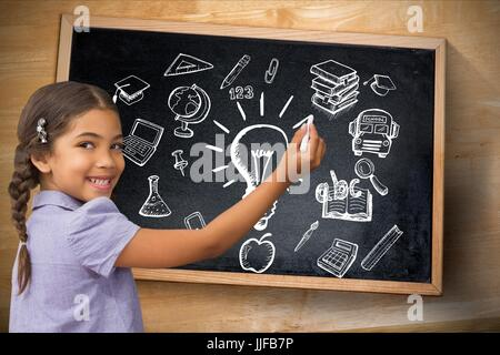 Digital composite of students against  education backgrounds with graphics - Stock Photo