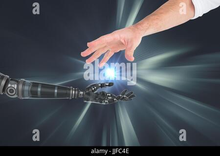 Digital composite of human and robot hand - Stock Photo