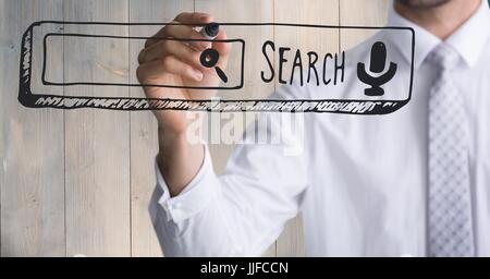 Digital composite of Business man mid section writing search bar against wood panel - Stock Photo