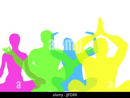 Digital composite of Intense color silhouettes doing yoga  with opacity. White background - Stock Photo