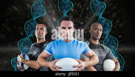 Digital composite of rugby players with blue DNA chains in a black with lights background - Stock Photo