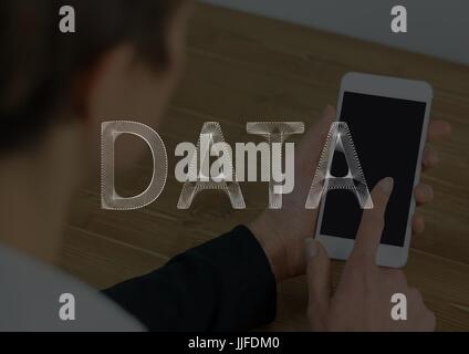 Digital composite of White data text against woman touching phone and dark overlay - Stock Photo