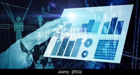 Businesswoman using imaginative digital screen against binary codes and people icons - Stock Photo