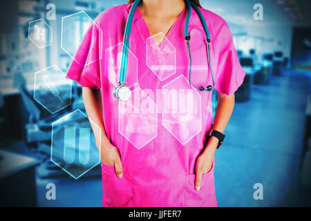 Mid section of nurse with stethoscope against medical icons in hexagons interface menu - Stock Photo