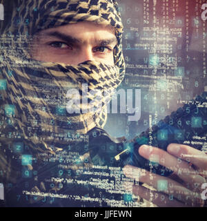 Close up portrait of soldier holding rifle against digital image of architecture - Stock Photo