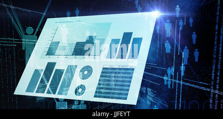 Blue graphics on white background against binary codes and people icons - Stock Photo