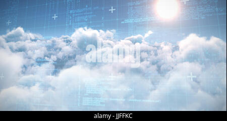 Blue matrix and codes against idyllic view of bright sun over clouds during sunny day - Stock Photo