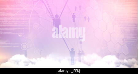 People icons and binary codes against low angle view of clouds against sky - Stock Photo