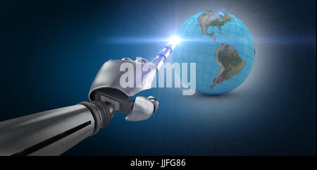 Robotic arm over white background against blue background with vignette - Stock Photo