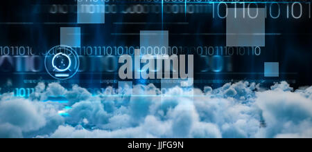 View of cloudscape  against blue technology design with binary code - Stock Photo