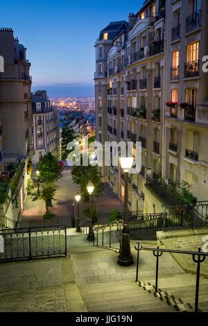 Stairway leading down Rue du Mont Cenis, Montmartre, Paris, France - Stock Photo