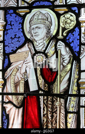 Stained Glass Window depicting St Deiniol, St Mary's Church, Trefriw, Wales - Stock Photo