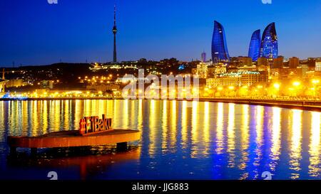 Formula 1 sign in the Bay of Baku, Baku, Azerbaijan - Stock Photo