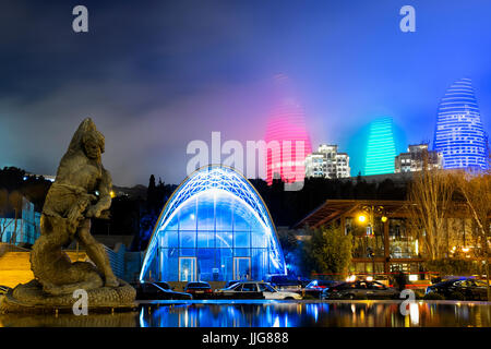 Bahram Gur Statue in front of the lower funicular station, Baku, Azerbaijan - Stock Photo