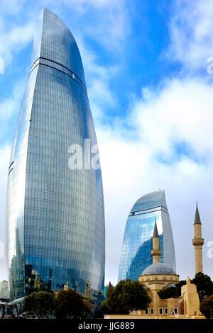 Flame towers and Shahids Mosque, Baku, Azerbaijan - Stock Photo