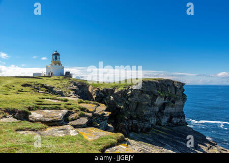 Lighthouse on the Brough of Birsay, Mainland, Orkney, Orkney Islands,  Scotland, UK - Stock Photo