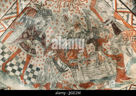Danish medieval religious fresco in the 13th century Gothic style Tuse Church depicting the Massacre of the Innocents - Stock Photo