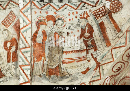 Danish medieval religious fresco in the 13th century Gothic style Tuse Church depicting the Circumcision  of Christ - Stock Photo